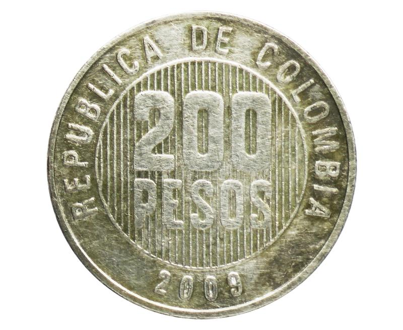200 Pesos coin, 1906~Today - Circulation serie, Bank of Colombia. Obverse, issued on 1994. Isolated on white royalty free stock photos