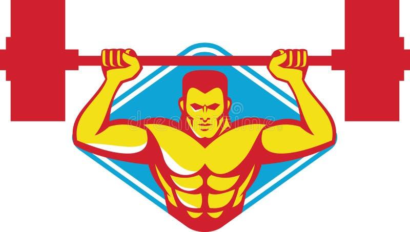 Pesos de elevación del culturista del Weightlifter retros ilustración del vector