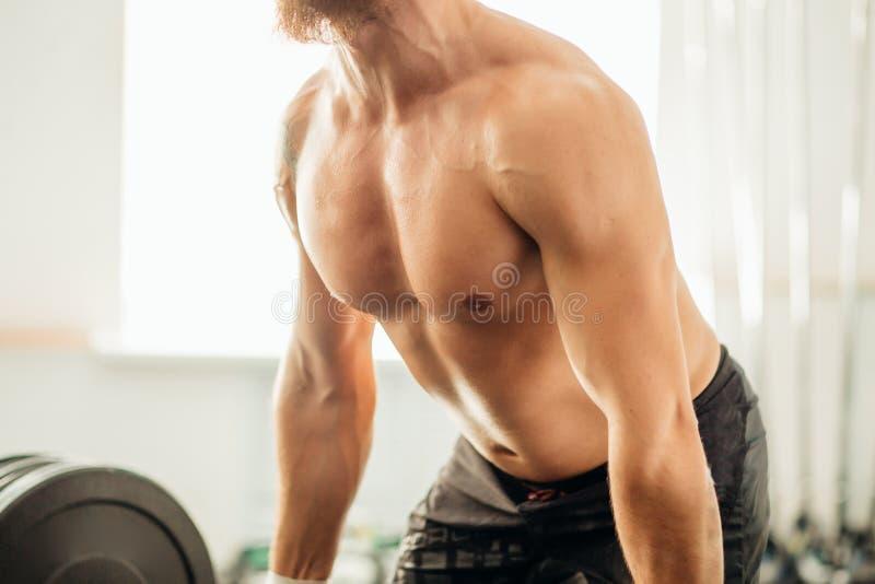 Pesos de elevación del hombre Entrenamiento muscular del hombre en el gimnasio que hace ejercicios con el barbell imagen de archivo