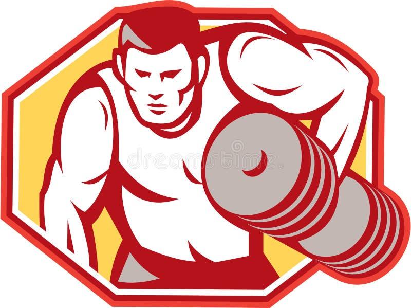Pesos de elevación del Weightlifter retros stock de ilustración