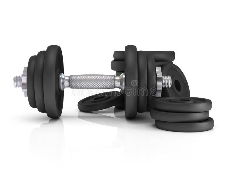 Pesos de la pesa de gimnasia del equipo del ejercicio de la aptitud libre illustration
