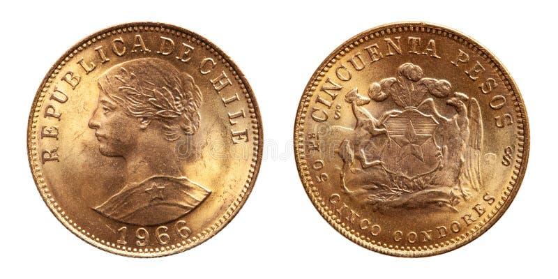 Pesos 1966 de la pièce d'or du Chili 50 photographie stock