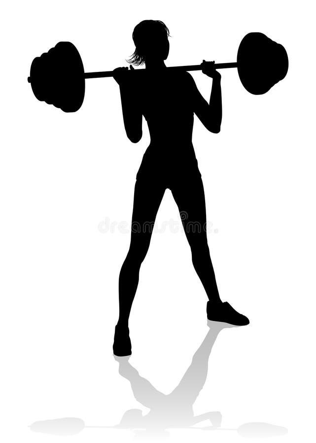 Pesos del Barbell de la silueta de la mujer del gimnasio stock de ilustración