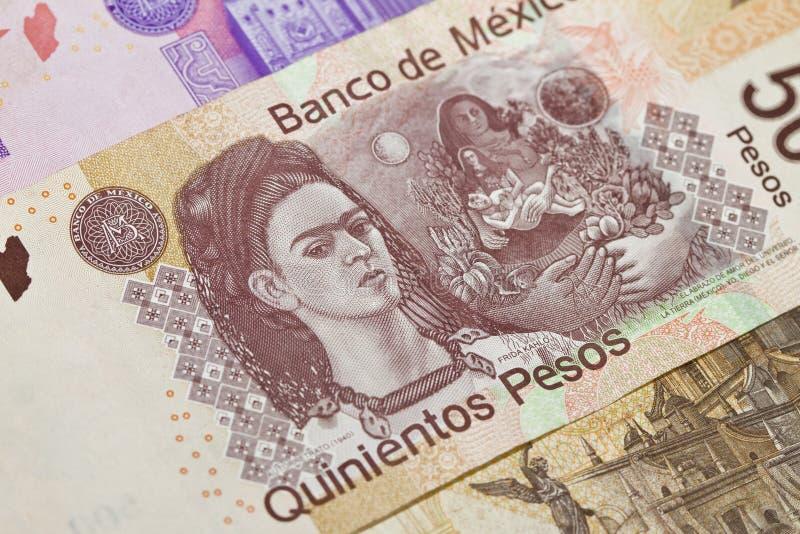Pesos del mexicano quinientos de Frida Kahlo fotos de archivo libres de regalías