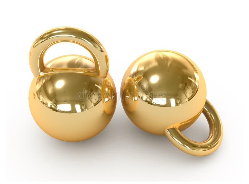 Pesos del oro. barbell. ilustración del vector