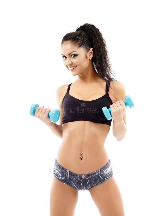 Pesos exercício, jovem mulher fotos de stock royalty free
