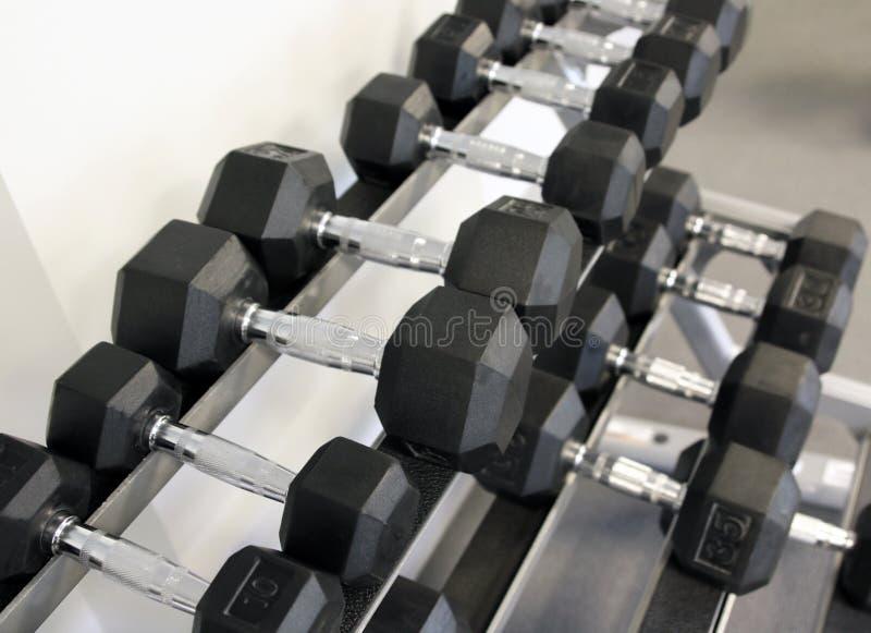 pesos Filas de pesas de gimnasia en un estante fotos de archivo