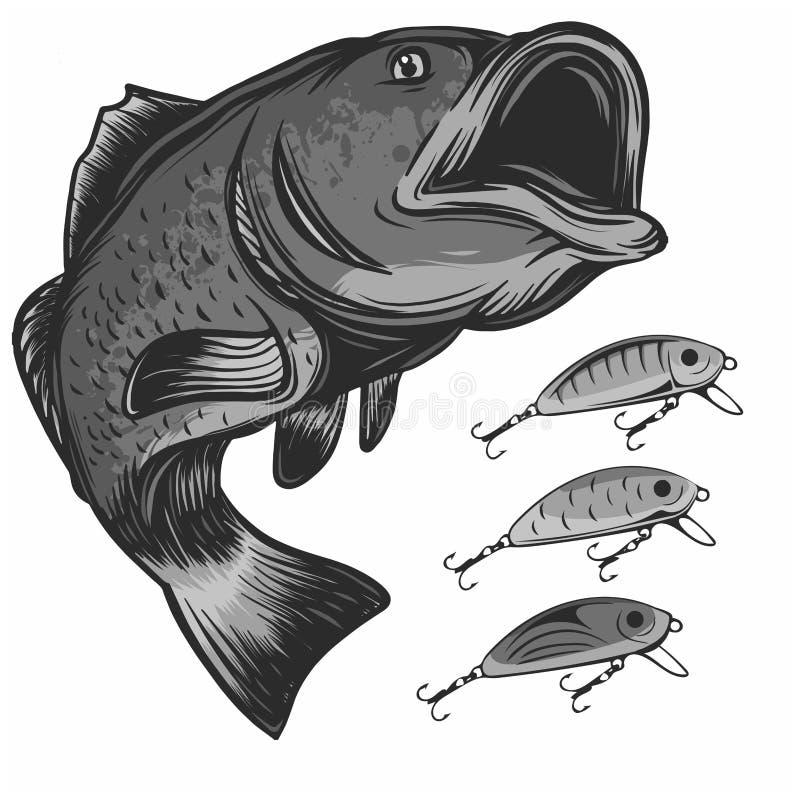 Pesque el logotipo y los señuelos de la pesca aislados en el ejemplo blanco del vector stock de ilustración