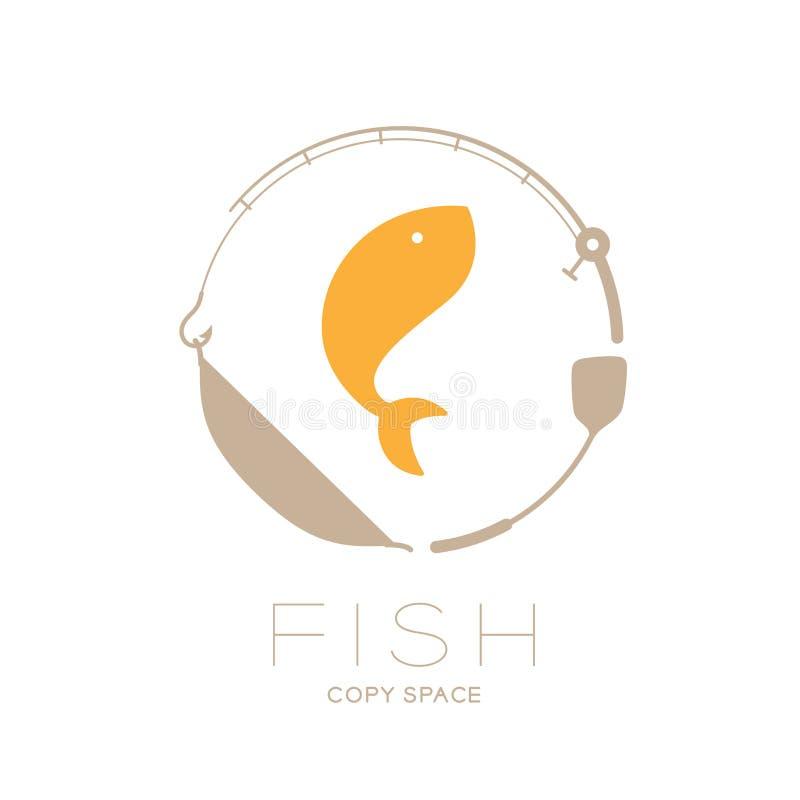Pesque el salto en la forma del círculo del marco de la caña de pescar, de la cacerola y de la aleta, ejemplo del diseño determin ilustración del vector
