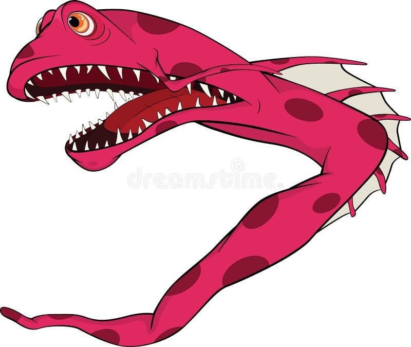 Pesque la anguila. Pequeños pescados coralinos. Historieta libre illustration