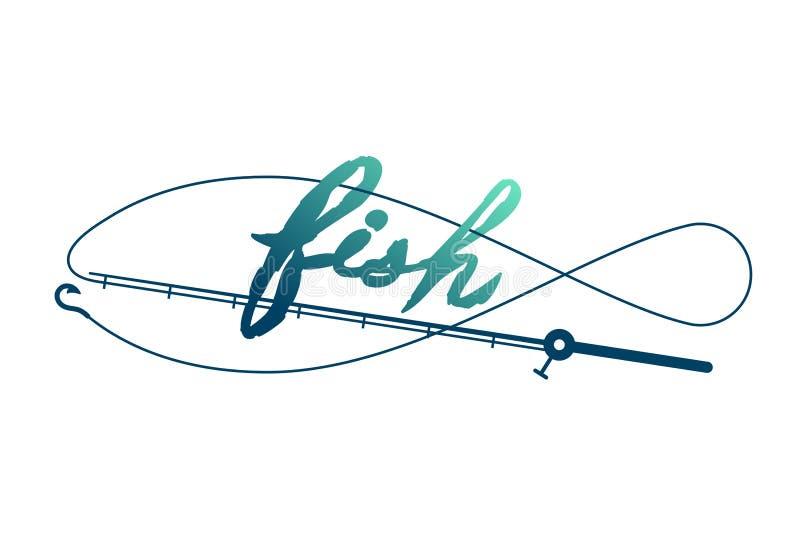 Pesque la forma hecha de marco de la caña de pescar, del ejemplo verde y azul marino del diseño determinado del icono del logotip stock de ilustración