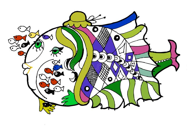 Pesque o berçário, livro para colorir, peixe engraçado dos desenhos animados fotos de stock royalty free