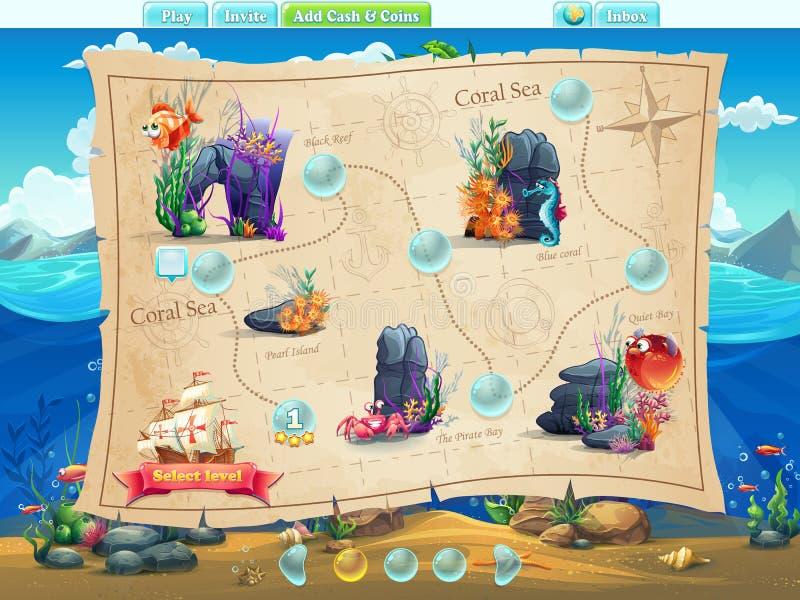 Pesque o exemplo do mundo da seleção dos níveis para o jogo de computador ilustração do vetor
