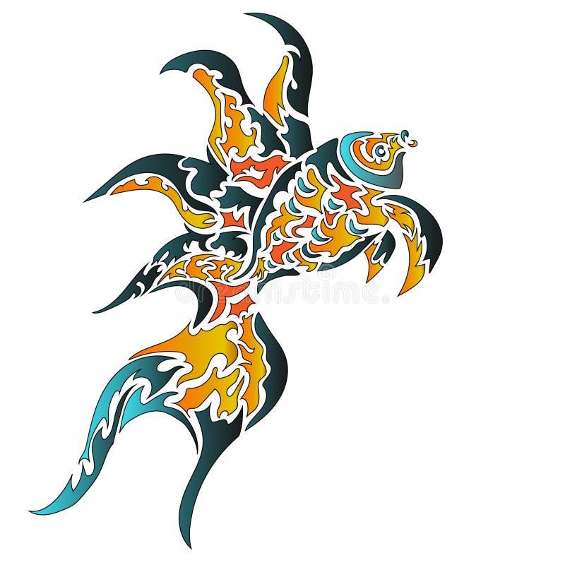 pesque, o fundo branco, teste padrão, tatuagem ilustração royalty free