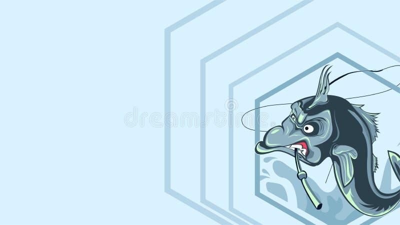 Pesque o ilustration e morda uma vara de pesca, peixe irritado do ` s imagens de stock