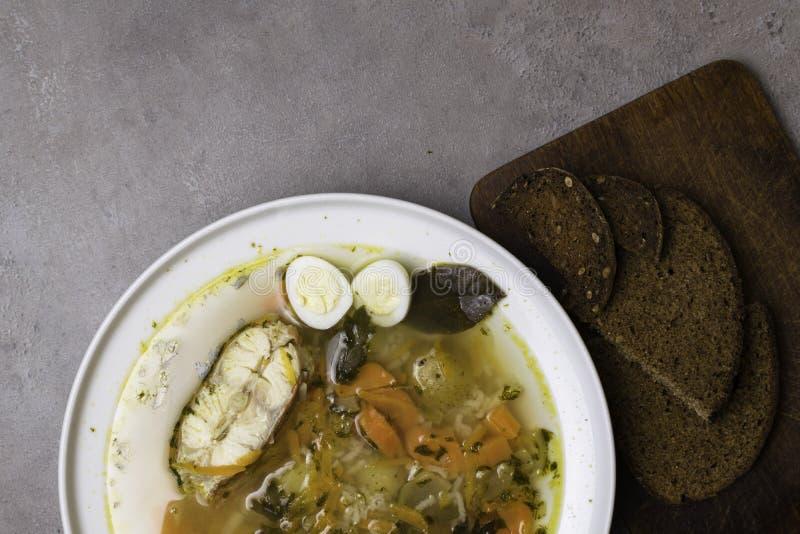 Pesque a sopa fresca com vegetais, ervas e ovos na placa branca Sopa com ingredientes, especiarias, arroz e pão Fundo cinzento foto de stock