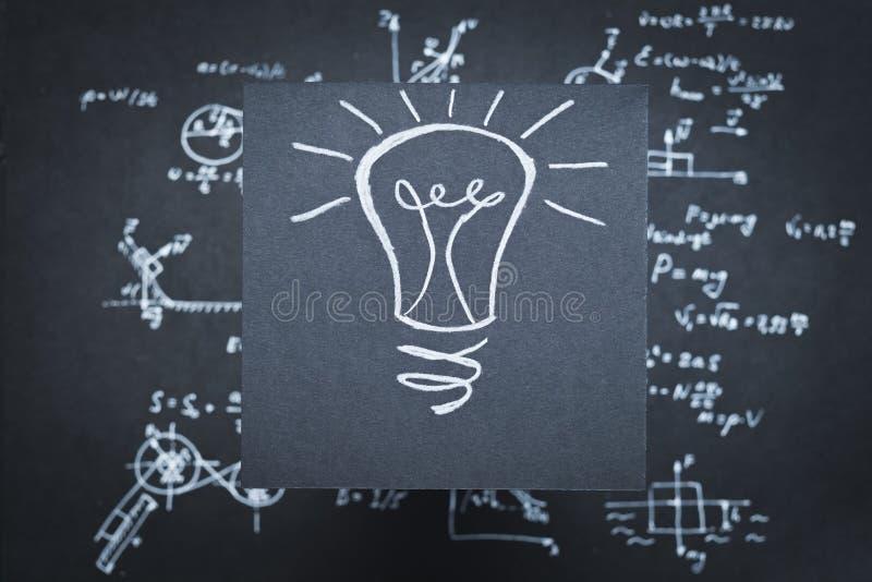 Pesquisa científica de Eureka da invenção da ideia da lâmpada fotografia de stock