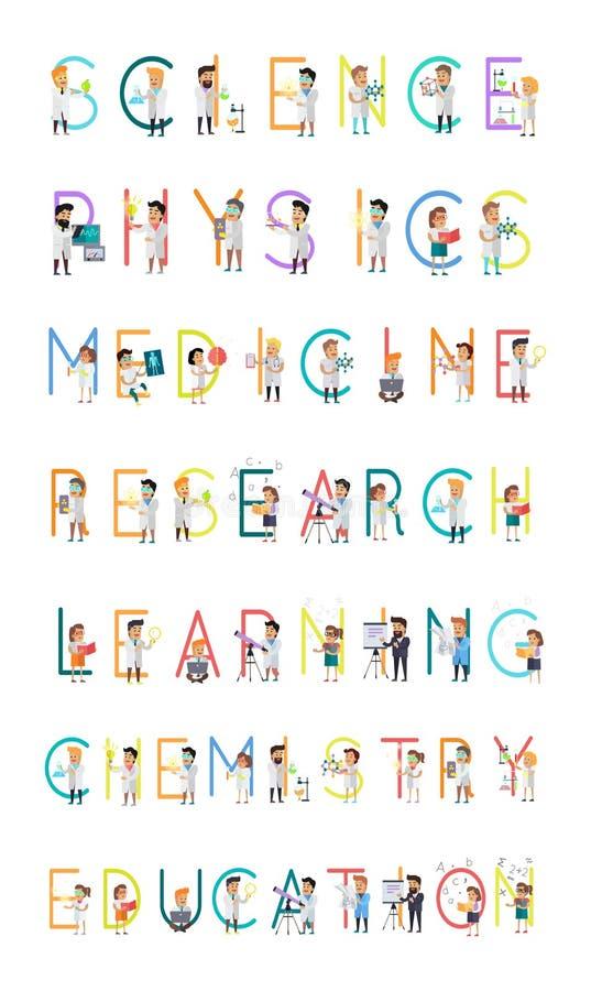 A pesquisa da medicina da física da ciência aprende a química ilustração do vetor