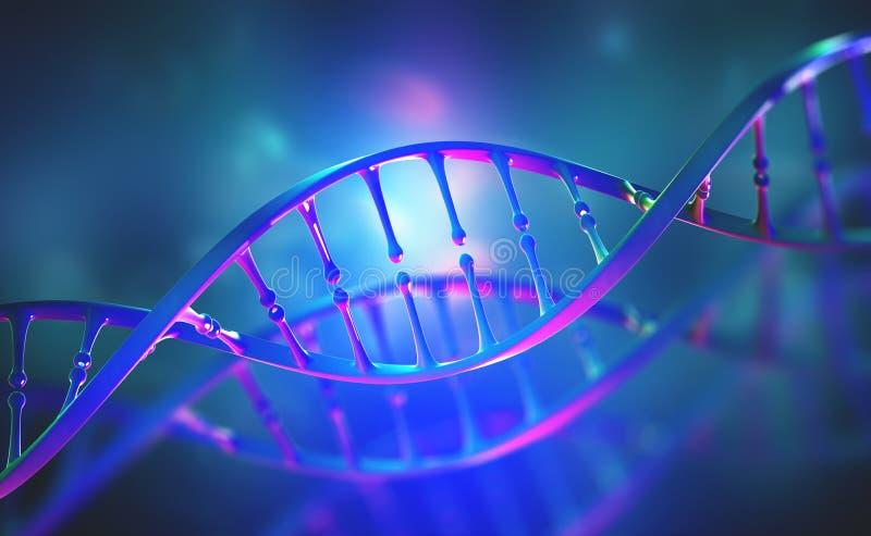 Pesquisa do genoma do ADN Luz de n?on brilhante Estrutura da mol?cula do ADN ilustração royalty free