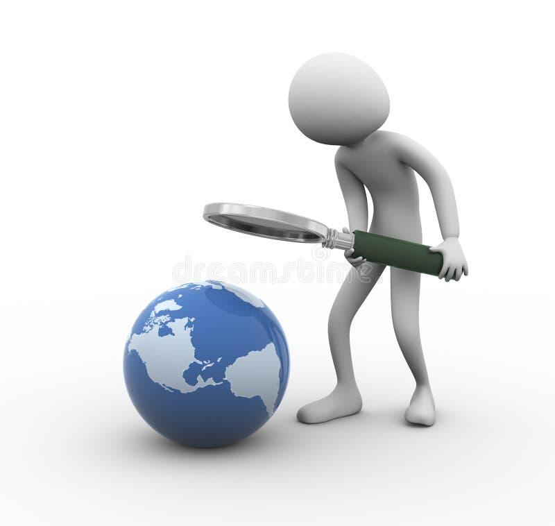 pesquisa do globo do homem 3d ilustração do vetor