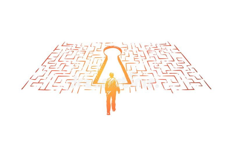 Pesquisa, homem da solução encontrando a saída na situação do labirinto, a difícil e a complicada, metáfora do desafio ilustração royalty free