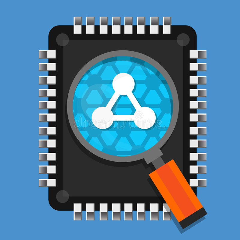 Pesquisa moderna da microplaqueta Nano da tecnologia ilustração stock