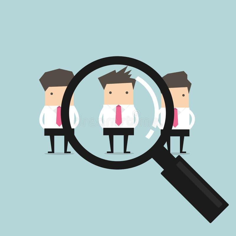 Pesquisa pelo melhor conceito do recruta do homem de negócios do candidato ilustração do vetor