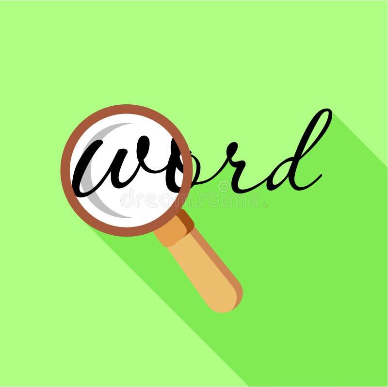 Pesquisa por palavra com ícone da lupa, estilo liso ilustração royalty free