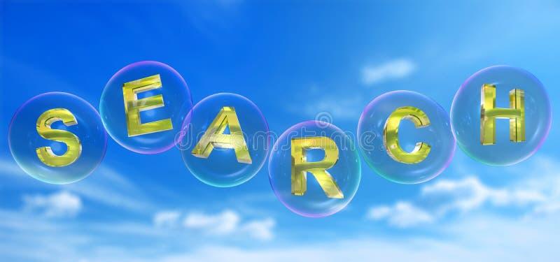 A pesquisa por palavra na bolha ilustração do vetor