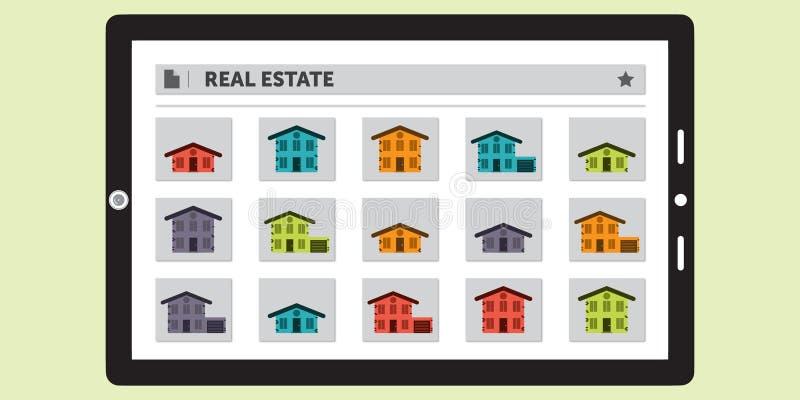 Pesquisa por Real Estate em uma tabuleta ilustração royalty free