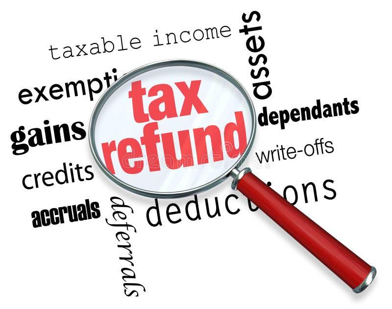 Pesquisa por um reembolso de imposto - lupa ilustração do vetor