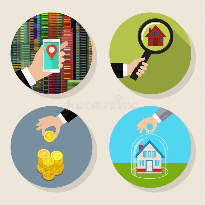 Download Pesquisa por uma casa ilustração do vetor. Ilustração de conceito - 65581572