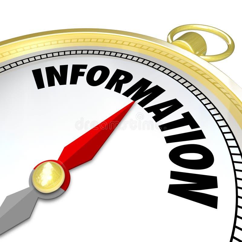 Pesquisa Resou do conhecimento do sentido da palavra do compasso do ouro da informação ilustração stock