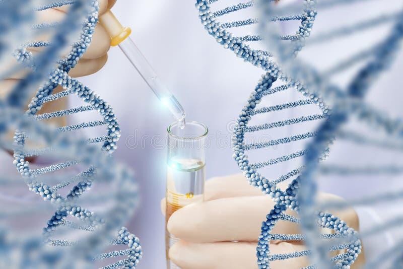 Pesquisa sobre a estrutura da molécula do ADN fotos de stock royalty free