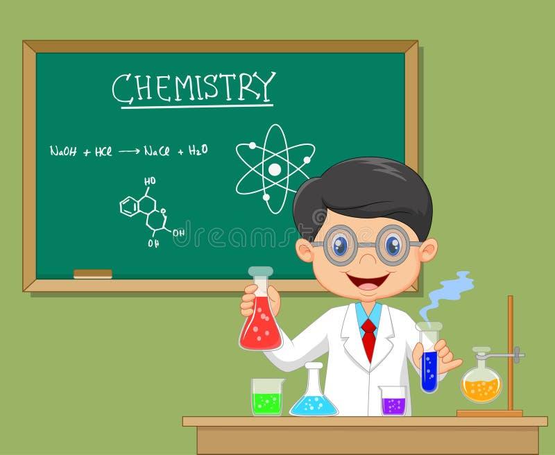 Pesquisador do laboratório - menino isolado do cientista no revestimento do laboratório com produtos vidreiros químicos ilustração royalty free