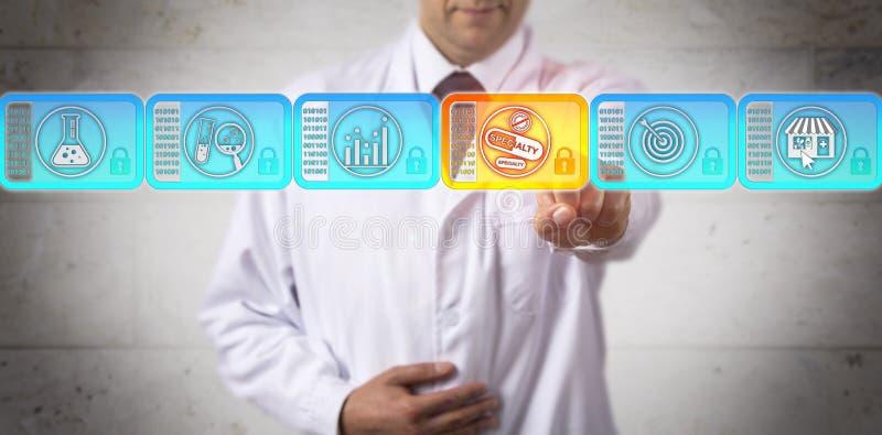 Pesquisador Selecting Specialty Drug em Blockchain imagem de stock