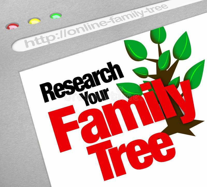 Pesquise sua base de dados em linha da pesquisa do Web site da árvore genealógica ilustração do vetor