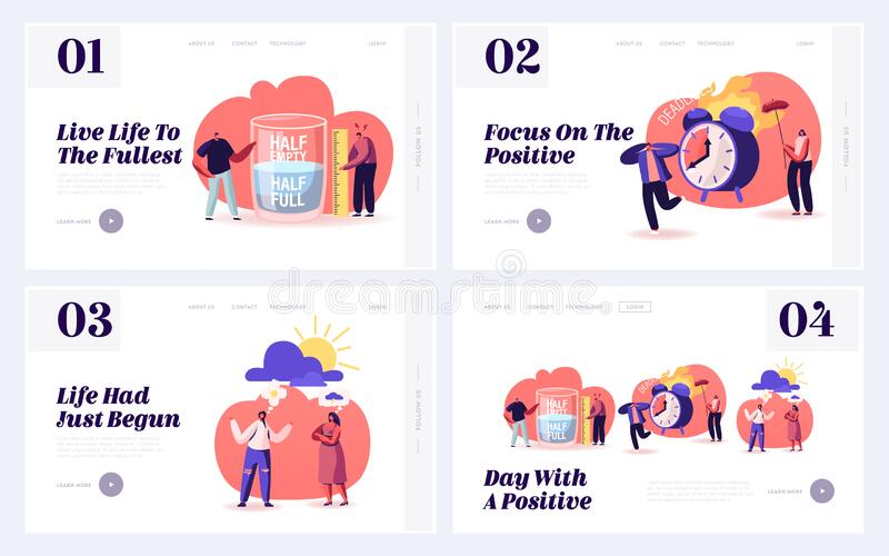 Pessimism Optimism Life Attitude Website Landing Page. People with Positive and Negative Thinking Communicate. And Express Point of View. Contradictory Web Page royalty free illustration