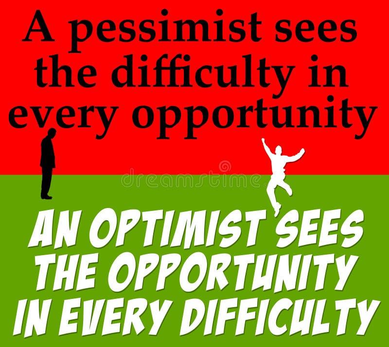 Pessimisme d'optimisme illustration libre de droits