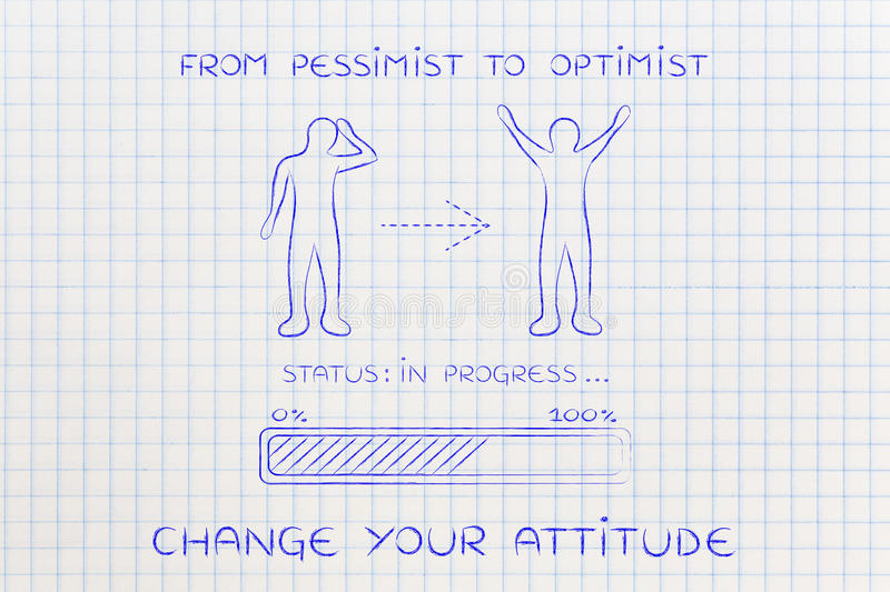 From pessimist to optimist: man changing attitude, progress bar. From pessimist to optimist: person changing from a negative to a positive attitude, with royalty free stock image