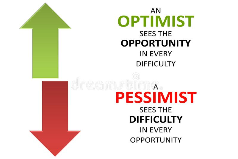 Pessimisten - Optimisten, Schwierigkeit - Gelegenheit auf weißem Hintergrund lizenzfreie abbildung