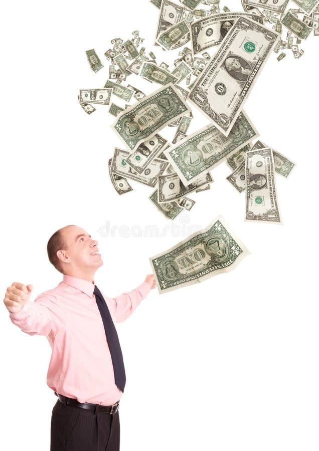 Pessoa ávida de dinheiro feliz imagem de stock royalty free