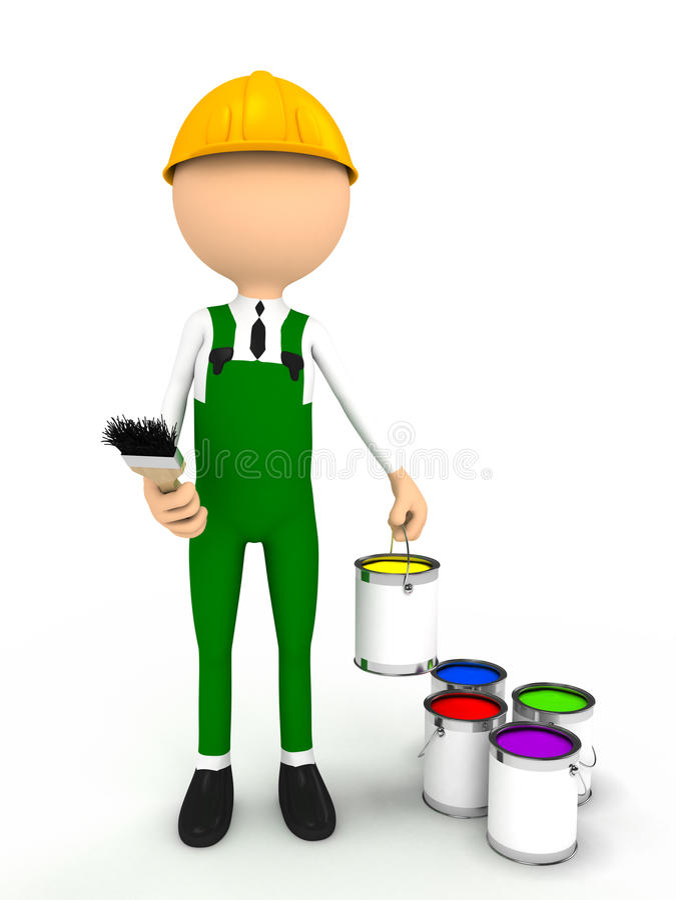 pessoa 3d com escova e cor ilustração stock