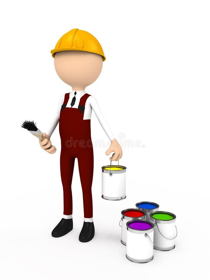 pessoa 3d com escova e cor ilustração do vetor