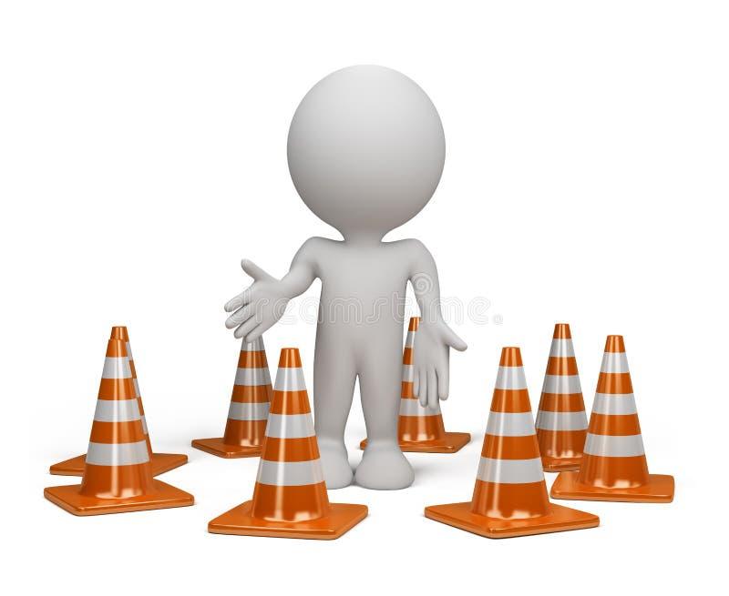pessoa 3d com um cone do tráfego ilustração do vetor