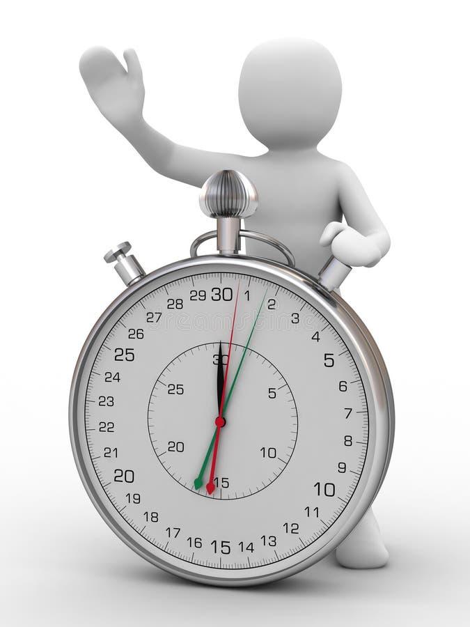 pessoa 3d e cronômetro ilustração do vetor