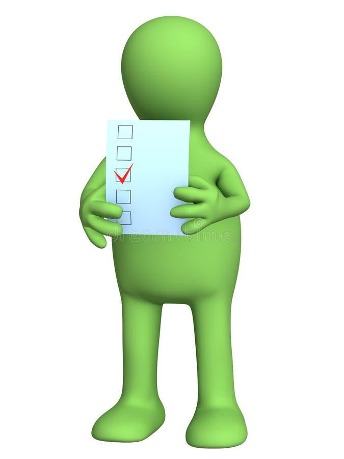 A pessoa 3d estilizado que vota em eleições ilustração stock