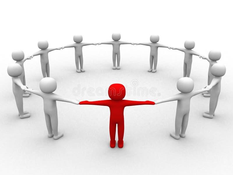 pessoa 3d, liderança e povos no círculo ilustração stock