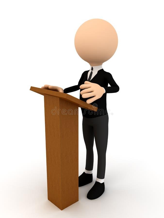 pessoa 3d na tribuna sobre o branco ilustração stock