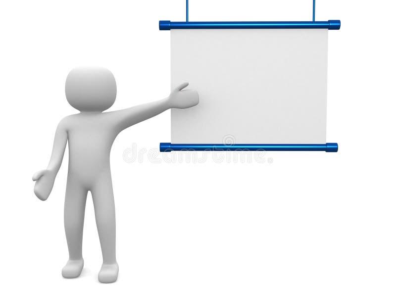 pessoa 3d pequena com placa vazia. imagem 3d ilustração stock